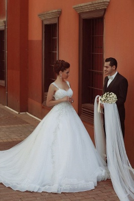 Delicate Strap Tulle Wedding Dress Beadss Appliques Ball Gown_4