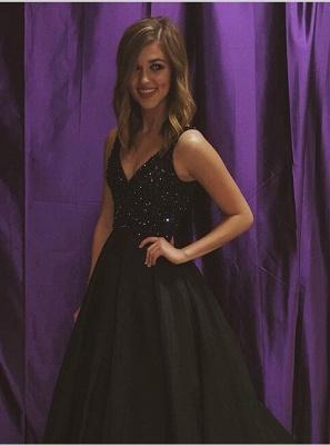 Elegant Black V-Neck Sleeveless Prom Dress UKes UK Beadings Sequins A-Line BA7743_1