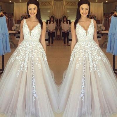 Luxury Sleeveless V-Neck Evening Dress UK Lace Appliques Tulle Online BA3252_3