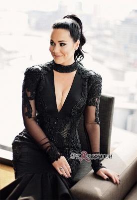 Deep-V-Neck Mermaid Long-Sleeves Lace Appliques Puffy Hi-lo Black Prom Dress UKes UK_3