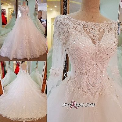 Sequins Lace Long-Sleeves Sweep-Train A-line Wedding Dress_1