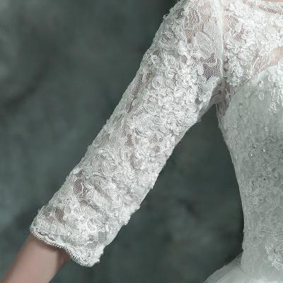 Modern Lace Appliques 3/4-Long Sleeve Wedding Dress Sweep Train_6