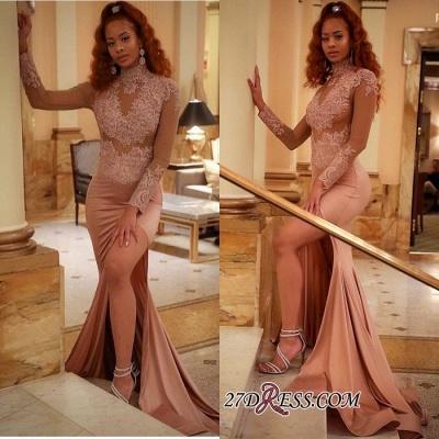 Luxury Long-Sleeve High-Neck Evening Dress UK   Mermaid Lace Prom Dress UK_2