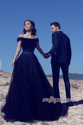 Tulle A-Line Gorgeous Off-the-Shoulder Beadings Dark-Navy Evening Gowns_2