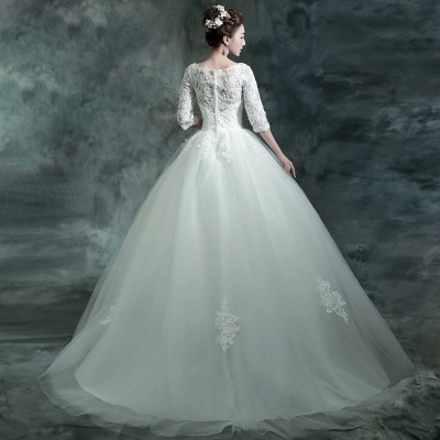 Modern Lace Appliques 3/4-Long Sleeve Wedding Dress Sweep Train_5