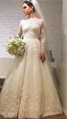 Elegant Lace Appliques Tulle Wedding Dress Long Sleeve A-line_1