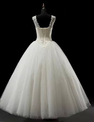 Simples A-Line Lace Wedding Dresses UK Lace-up Floor Length Bridal Gowns_2