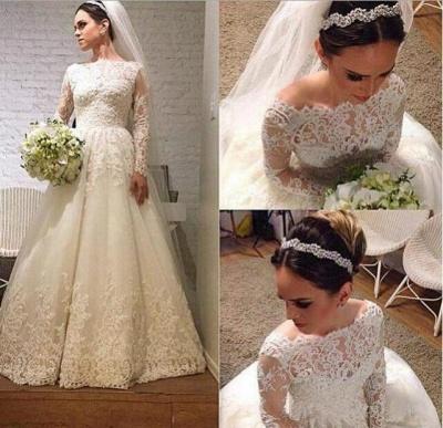 Elegant Lace Appliques Tulle Wedding Dress Long Sleeve A-line_3