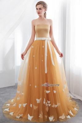 Gold Long Sheath Fashion Sash Floor-Length Evening Dress UKes UK_5