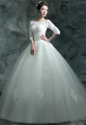 Modern Lace Appliques 3/4-Long Sleeve Wedding Dress Sweep Train_1
