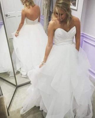 Summer Empire A-Line Tiered Ruffles Sweetheart Long Wedding Dresses UK_1