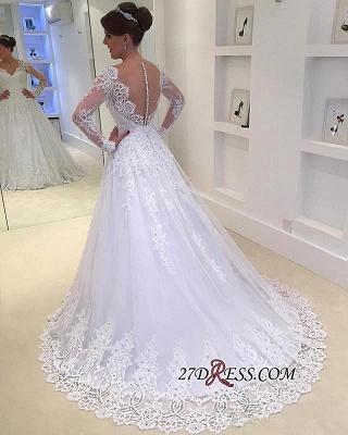 Appliques V-Neck A-Line Long-Sleeves Tulle Beadss Elegant Wedding Dress_2