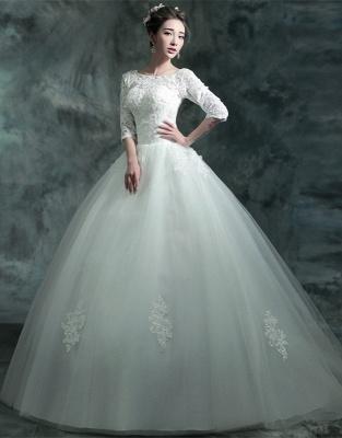 Modern Lace Appliques 3/4-Long Sleeve Wedding Dress Sweep Train_4