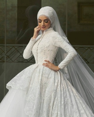 Elegant High Neck Wedding Dresses UK Lace Long Sleeves Muslim Bridal Gowns_3