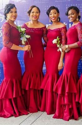 Sexy Long Sleeve Bridesmaid Dress UK | Mermaid Lace Fuchsia Maid of Honor Dress UK_1