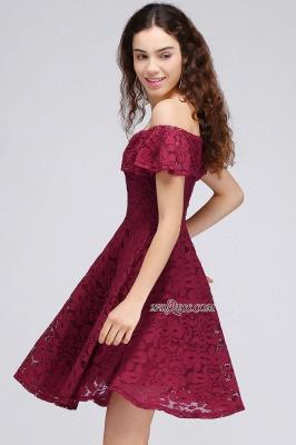 Sheath Burgundy Lace Short Off-the-Shoulder Homecoming Dress UKes UK_4