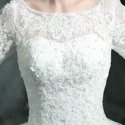 Modern Lace Appliques 3/4-Long Sleeve Wedding Dress Sweep Train_3