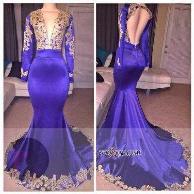 Deep-V-Neck Appliques Elegant Appliques Long-Sleeves Prom Dress UK_1