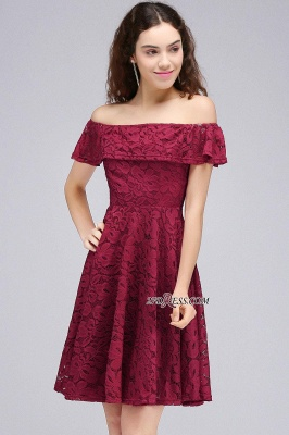 Sheath Burgundy Lace Short Off-the-Shoulder Homecoming Dress UKes UK_6