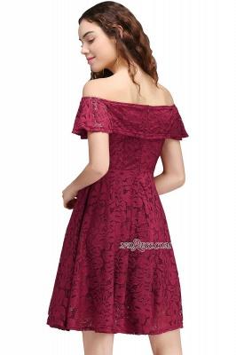 Sheath Burgundy Lace Short Off-the-Shoulder Homecoming Dress UKes UK_3