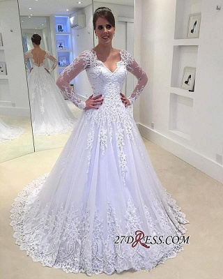 Appliques V-Neck A-Line Long-Sleeves Tulle Beadss Elegant Wedding Dress_3