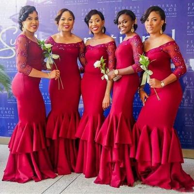 Sexy Long Sleeve Bridesmaid Dress UK | Mermaid Lace Fuchsia Maid of Honor Dress UK_3