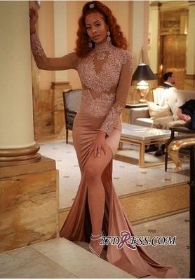 Luxury Long-Sleeve High-Neck Evening Dress UK   Mermaid Lace Prom Dress UK_3