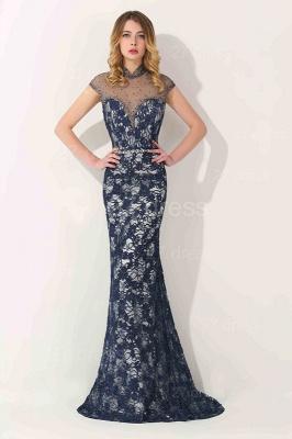 Gorgeous High Neck Short Sleeve Prom Dress UK Mermaid Lace Long_1