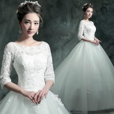 Modern Lace Appliques 3/4-Long Sleeve Wedding Dress Sweep Train_7