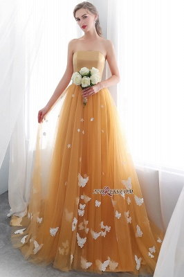 Gold Long Sheath Fashion Sash Floor-Length Evening Dress UKes UK_3