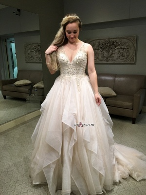 Elegant Sleeveless Long Evening Dress V-Neck Puffy Party Dress WIth Beadss BA8918_2