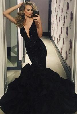 Elegant Black Prom Dress UK | Lace Appliques Mermaid Evening Party Gowns_2