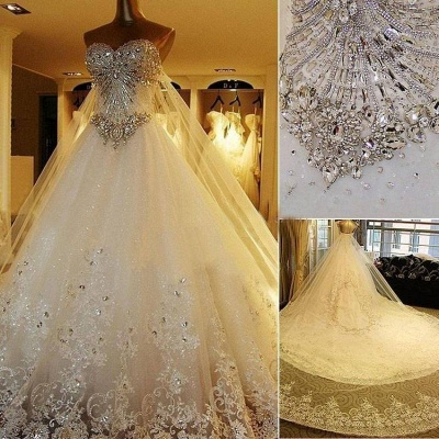 Beads White Lace Wedding Dresses UK Wholesale Topped Sweetheart Lace Cathedral Train Gowns_5