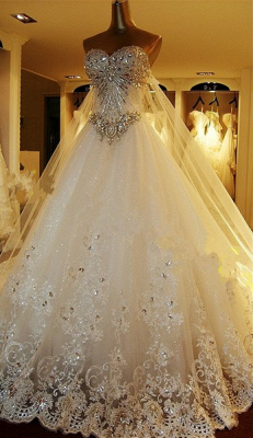 Beads White Lace Wedding Dresses UK Wholesale Topped Sweetheart Lace Cathedral Train Gowns_6