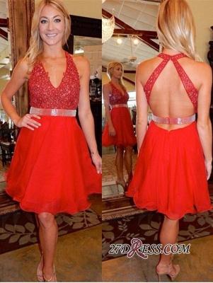 Beadings Short Red Sleeveless V-Neck Tulle Elegant Homecoming Dress UK_3