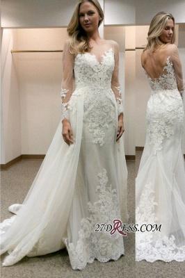 Simple Tulle Appliques Sheath Open-Back Long-Sleeves Wedding Dress_2