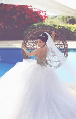 Gorgeous Beadss Tulle White Wedding Dress Ball Gown Straps Court Train_2
