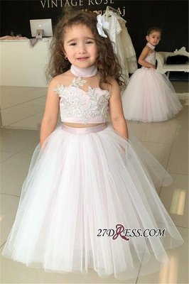 Flower Lovely Two-Pieces Sweetheart Tulle Pink Appliques Girl Dresses_5