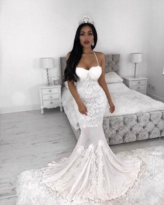 Straps  Sexy Mermaid Wedding Dresses UK | Lace Appliques Cheap Wedding Dress_3