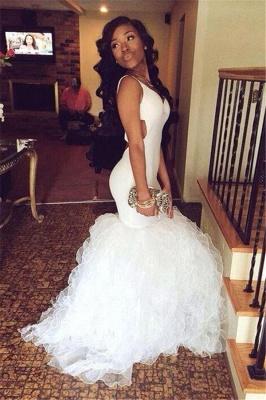 Stunning White V-Neck Prom Dress UKes UK Mermaid  Ruffles BK0_1