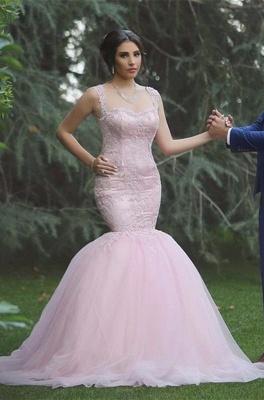 Applique Sleeveless Long Pink  Sexy Mermaid Tulle Wedding Dresses UK_3
