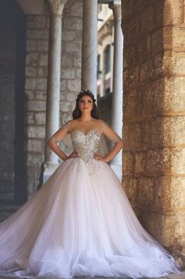 Elegant Illusion Half Sleeve Tulle Wedding Dress Beadss Ball Gown_3