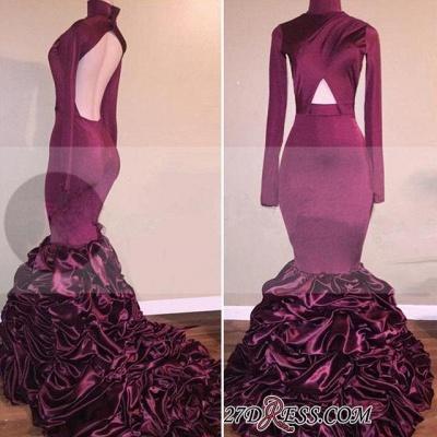 Ruffles Open-Back Long-Sleeves High-Neck Mermaid Newest Prom Dress UK_1