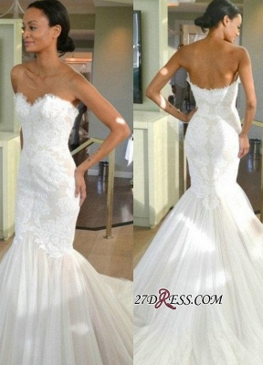 Strapless Sleeves Sexy Mermaid Lace Sweep-train Tulle Wedding Dress_2