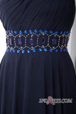 Crystal One-Shoulder Long Luxury Chiffon Flowers Bridesmaid Dress UK_3