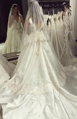 Modern V-Neck Sleeveless Wedding Dresses UK Princess Crystal Bridal Gowns_4