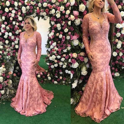 Long Sleeve Prom Dress UK   Mermaid Lace Appliques Evening Gowns BA9236_2