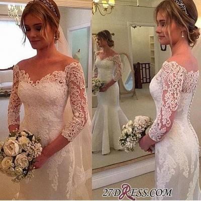 Button Sexy Mermaid Off-the-shoulder Wedding Dress_1