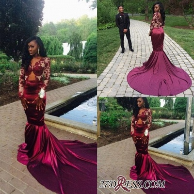 Sweep-Train Long-Sleeve Mermaid Lace Elegant Prom Dress UK BK0_1