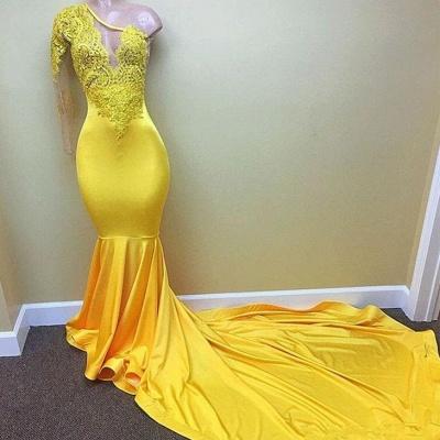 Yellow one shoulder mermaid prom Dress UK, lace evening Dress UKes UK_3